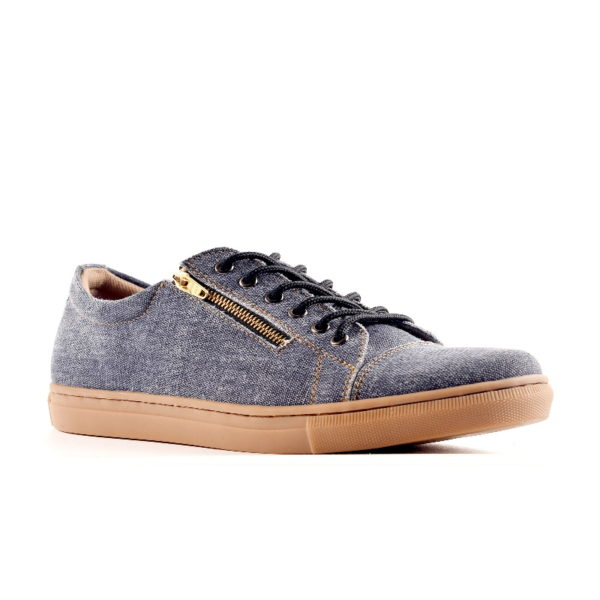 sepatu retsleting casual yordan blue denim